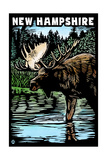 New Hampshire - Moose - Scratchboard