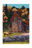Deer Family and Cabin