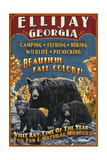 Ellijay  Georgia - Black Bear Vintage Sign