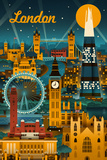London, England - Retro Skyline Reproduction d'art par Lantern Press