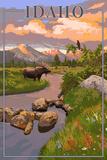Idaho - Moose and Sunset