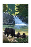 Bear Family and Waterfall