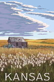 Kansas - Wheat Fields and Homestead