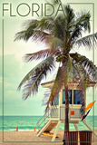 Florida - Lifeguard Shack and Palm Reproduction d'art par Lantern Press