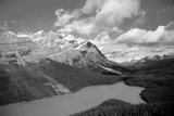 Banff Peyto Lake in Canadian Rockies Black White Photo Print Poster