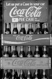 Vintage Coca Cola Bottle Cases Black White Photo Poster