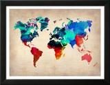 Carte du monde en aquarelle 1 Reproduction encadrée par NaxArt