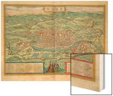 """Map of Rome  from """"Civitates Orbis Terrarum"""" by Georg Braun and Frans Hogenberg  circa 1572"""