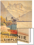 Die Simplonlinie an Den Gestaden Des Genfersees'  Poster Advertising Rail Travel around Lake Geneva