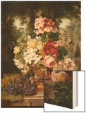 A Vase of Summer Flowers and Fruit on a Ledge in a Landscape