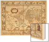 Hand Colored Engraved World Map  1649