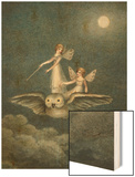 Two Fairies Standing on the Back of an Owl Beneath a Moon