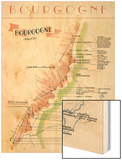 Map of French Bourgogne Wine Country