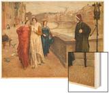 Dante Alighieri Italian Writer Meeting His Beloved Beatrice Portinari on the Lung'Arno Florence