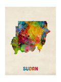 Sudan Watercolor Map Reproduction d'art par Michael Tompsett