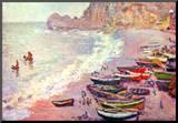 Claude Monet Etretat the Beach and La Porte d'Amont Art Print Poster