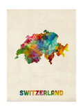 Switzerland Watercolor Map