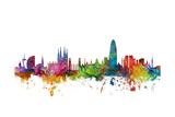 Barcelona Spain Skyline Reproduction d'art par Michael Tompsett