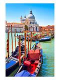Canal Gondolas & Church Venice