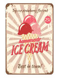 Vintage Tin Sign for Ice Cream