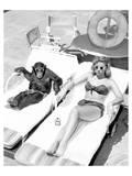 Chimpanzee & Woman Sunbathing Reproduction d'art