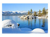 Snowy Covered Lake Tahoe Shore