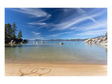 Lake Tahoe Beach With 2 Hearts