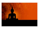 Buddha Silhouette & Red Sunset