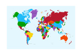 World Map  Colorful Countries