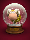 Symbol of 2015 Gold Sheep in Snow Ball 3D