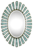 Morvoren Blue-Gray Oval Mirror