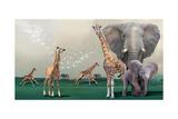Elephants And Giraffes Reproduction d'art par Nancy Tillman