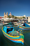 Marsaxlokk Harbor and Church Malta