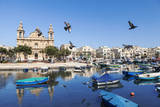 Pigeons in Flight over the Water at Marsaxlokk