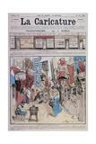 La Caricature du 23 juin 1888: transformisme - la bonne vieille rue commerçante d'autrefois