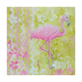 Green and Pink Flowers Flamingo Bird