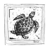 Coastal Sea Turtle Ocean Beach Sketch