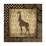 African Wild Giraffe Border Reproduction d'art par Hugo Wild