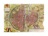 "Paris Map from ""Civitates Orbis Terrarrum"" by Georg Braun and Franz Hogenbergh  French  1572-1617"