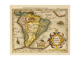 Hand Colored Engraved Map of South America  1610