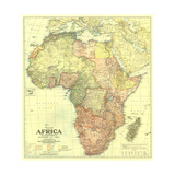 1922 Africa Map with portions of Europe and Asia