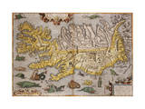 Hand Colored Map of Iceland  1595