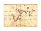 Portolan Map of Africa  the Indian Ocean and the Indian Subcontinent
