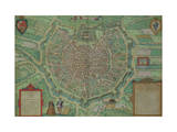 "Map of Milan  from ""Civitates Orbis Terrarum"" by Georg Braun and Frans Hogenburg  circa 1572"