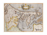Engraved  Hand Colored Map of Holland  1595