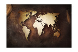 Aged World Map on a Dirty Piece of Fabric