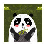 Keep Calm and Love NatureVector Concept Cute Panda Bear in Vector