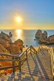 Portugal  Algarve  Lagos  Sunrise over Camilo Beach (Praia Do Camilo)