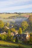 Naunton Village and Morning Mist  Naunton  Gloucestershire  Cotswolds  Uk