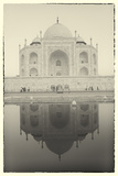 India  Uttar Pradesh  Agra  Black and White of the Taj Mahal Reflected in One of the Bathing Pools